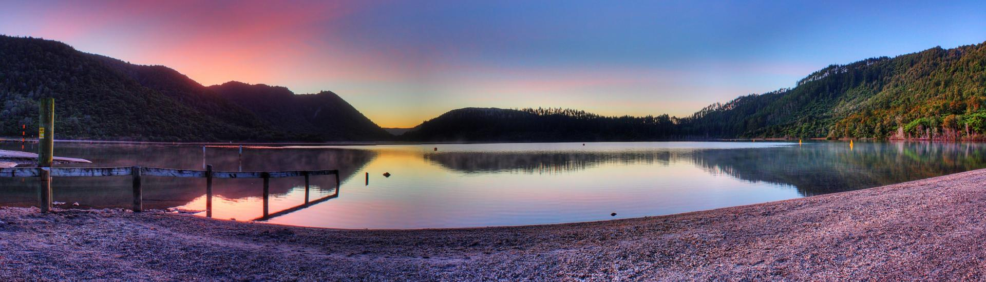 Sunset Over Blue Lake, Rotorua, New Zealand